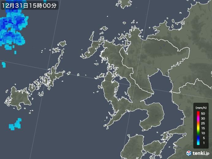 長崎県の雨雲の動き(2018年12月31日)