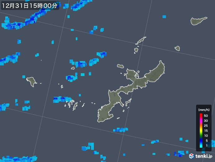 沖縄県の雨雲の動き(2018年12月31日)