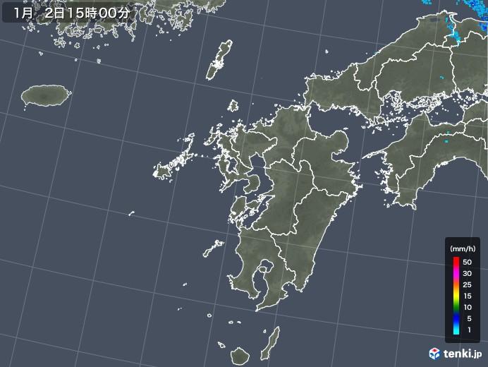 九州地方の雨雲の動き(2019年01月02日)
