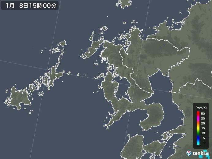長崎県の雨雲の動き(2019年01月08日)