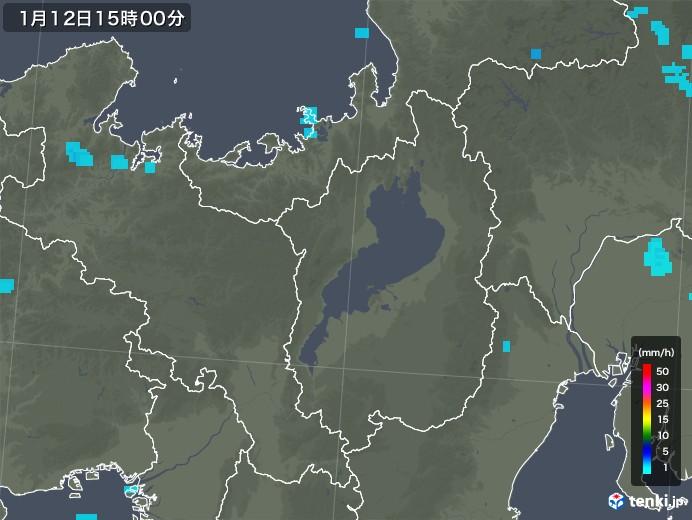 滋賀県の雨雲レーダー(2019年01月12日)