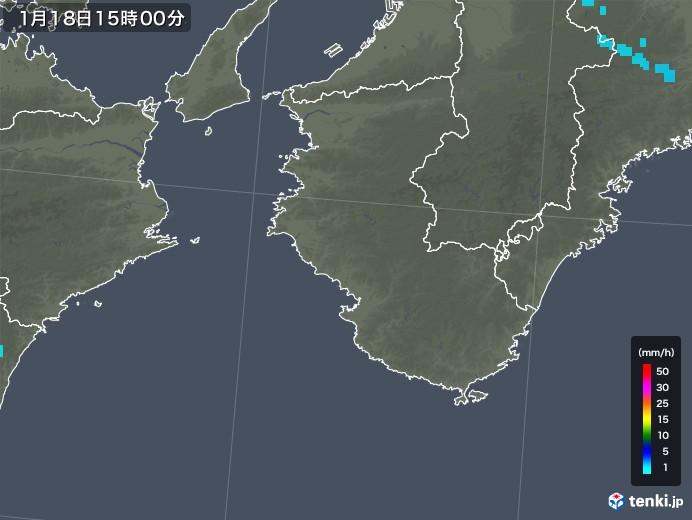 和歌山県の雨雲の動き(2019年01月18日)