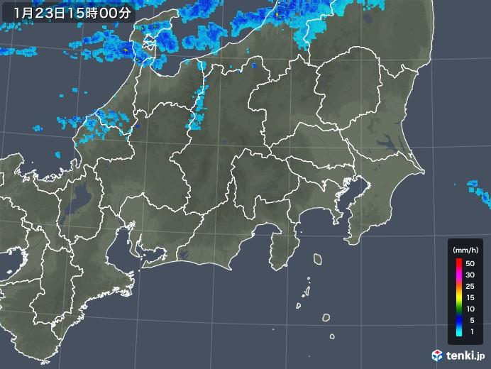 関東・甲信地方の雨雲レーダー(2019年01月23日)