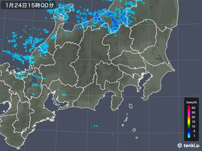 関東・甲信地方の雨雲レーダー(2019年01月24日)