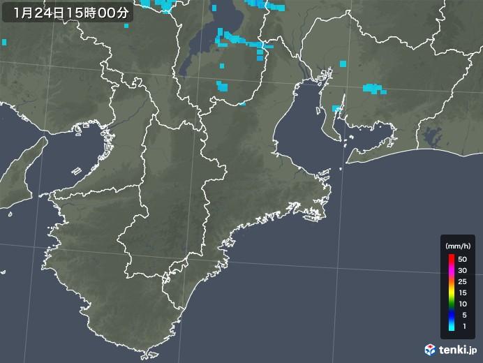三重県の雨雲レーダー(2019年01月24日)