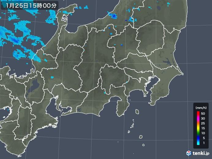 関東・甲信地方の雨雲レーダー(2019年01月25日)