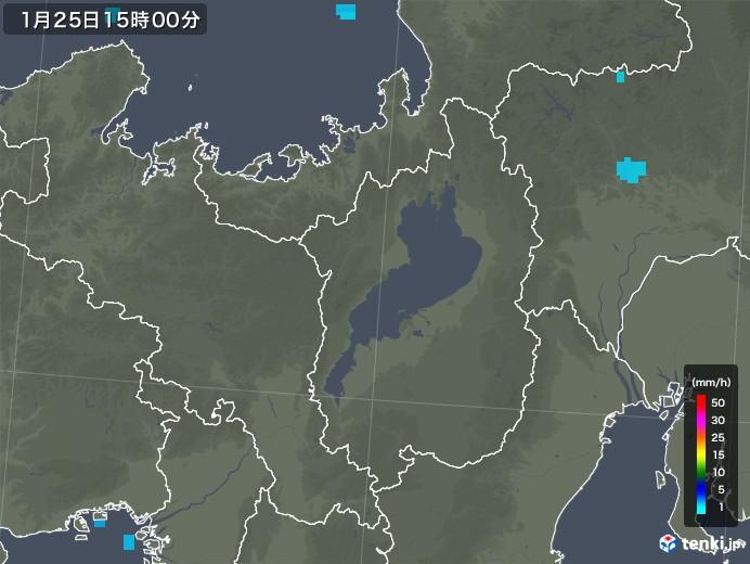滋賀県の雨雲レーダー(2019年01月25日)