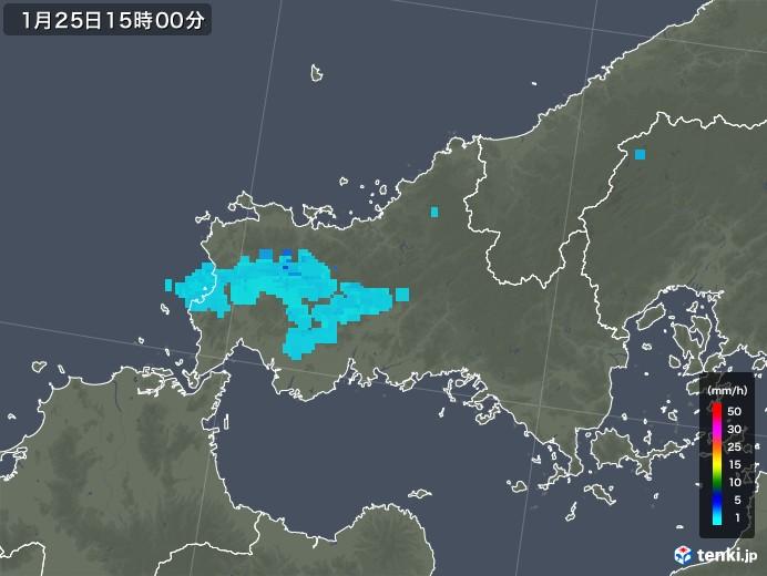 山口県の雨雲レーダー(2019年01月25日)