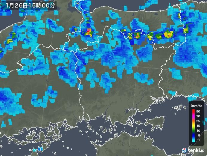 岡山県の雨雲レーダー(2019年01月26日)