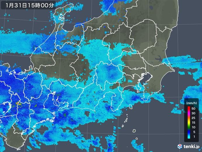 関東・甲信地方の雨雲レーダー(2019年01月31日)