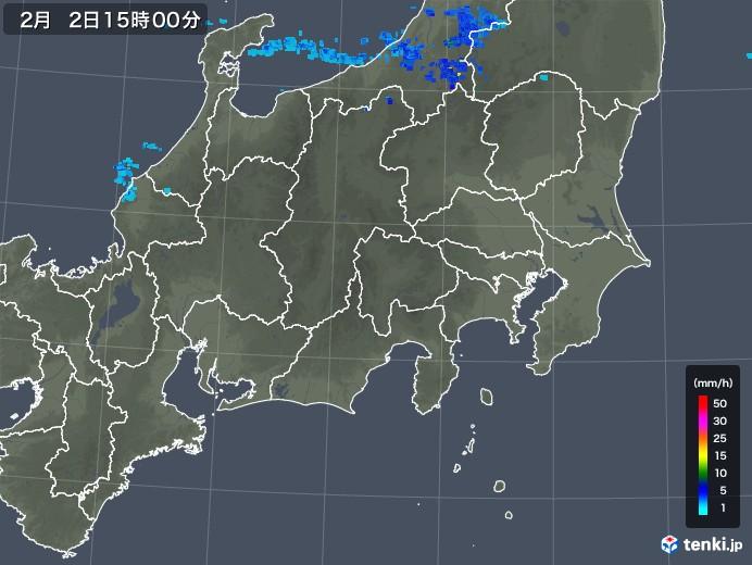 関東・甲信地方の雨雲レーダー(2019年02月02日)
