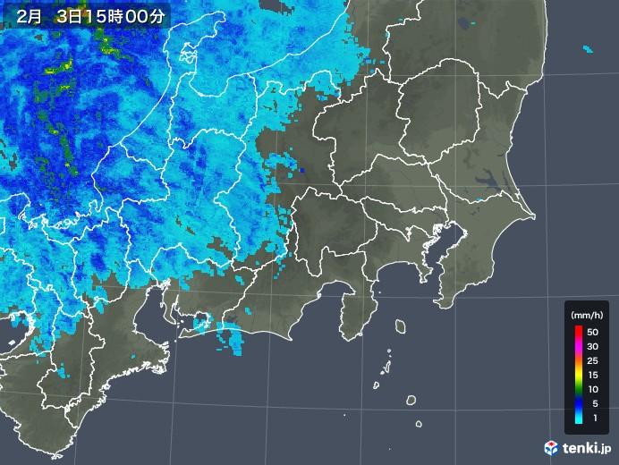 関東・甲信地方の雨雲レーダー(2019年02月03日)