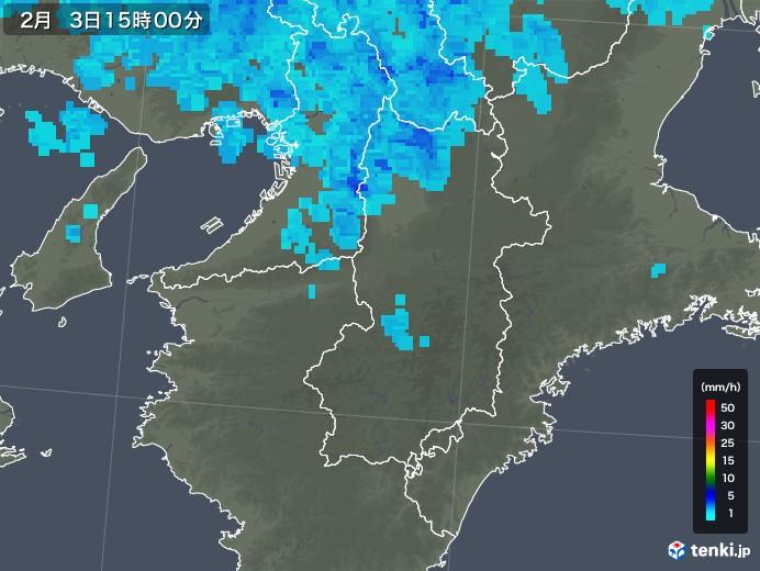 奈良県の雨雲レーダー(2019年02月03日)