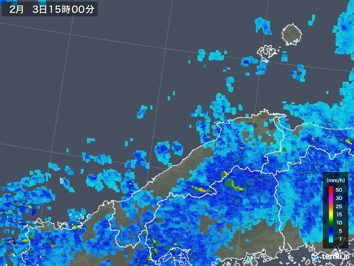 島根県の雨雲レーダー(2019年02月03日)