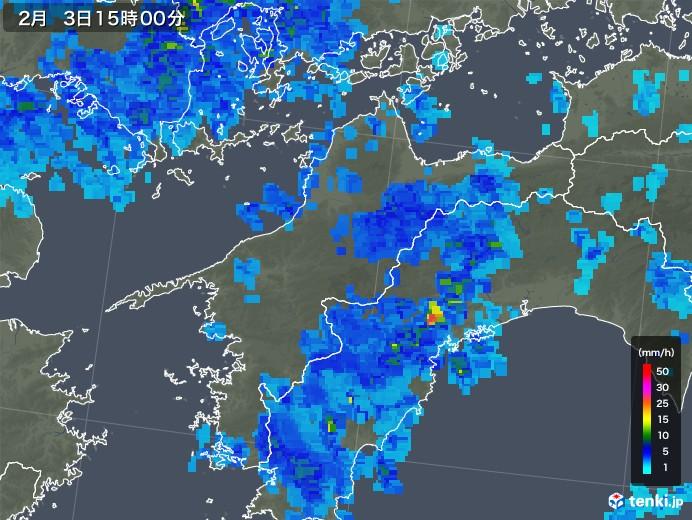 愛媛県の雨雲レーダー(2019年02月03日)