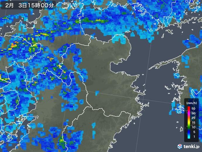 大分県の雨雲レーダー(2019年02月03日)