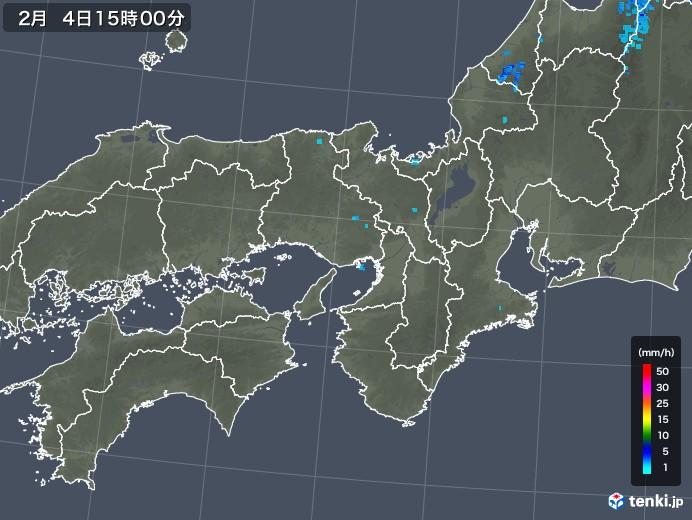近畿地方の雨雲レーダー(2019年02月04日)