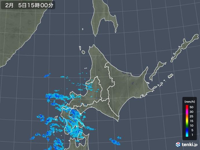 北海道地方の雨雲の動き(2019年02月05日)