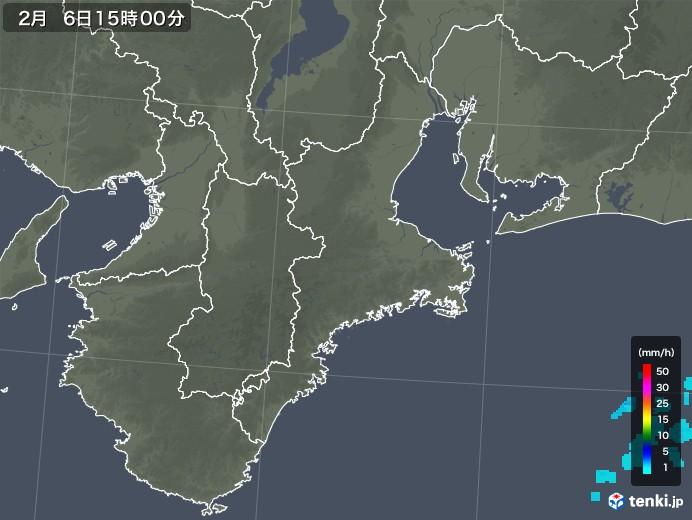 三重県の雨雲レーダー(2019年02月06日)