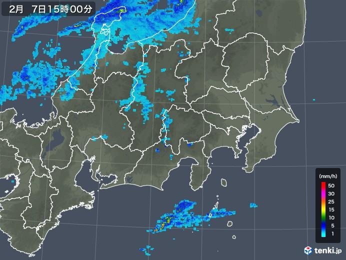 関東・甲信地方の雨雲レーダー(2019年02月07日)