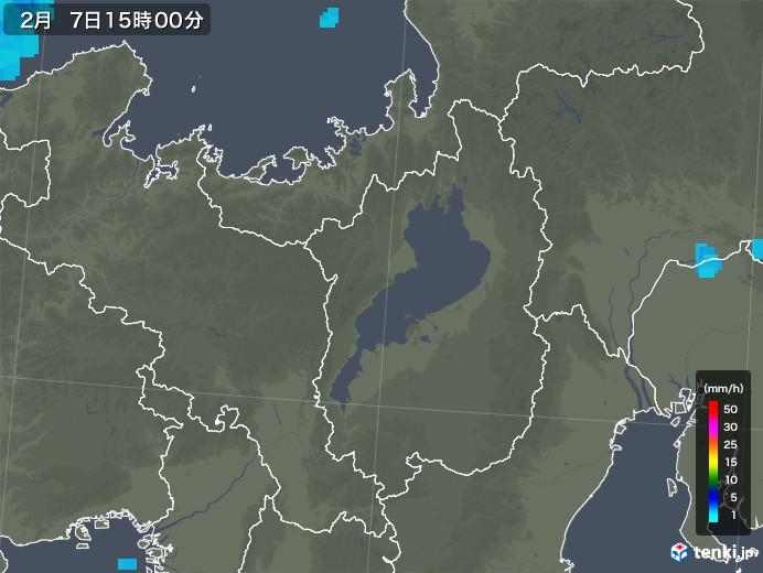 滋賀県の雨雲レーダー(2019年02月07日)