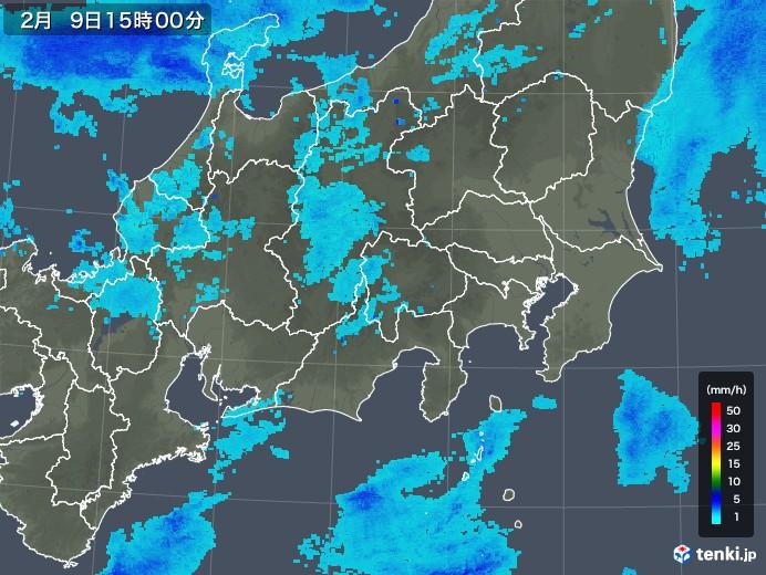 関東・甲信地方の雨雲レーダー(2019年02月09日)