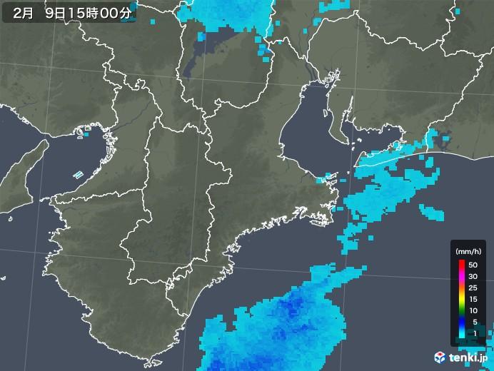 三重県の雨雲レーダー(2019年02月09日)
