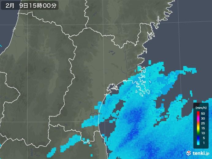 宮城県の雨雲レーダー(2019年02月09日)