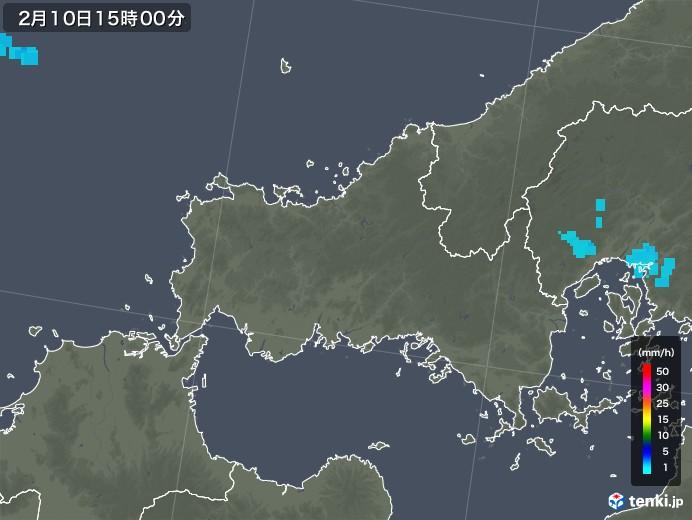 山口県の雨雲レーダー(2019年02月10日)