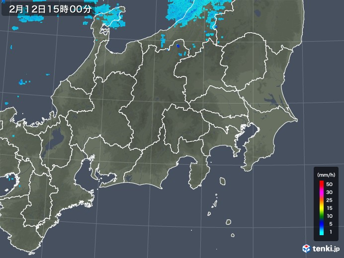 関東・甲信地方の雨雲レーダー(2019年02月12日)