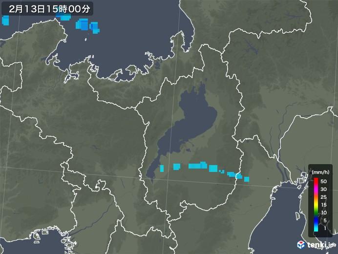 滋賀県の雨雲レーダー(2019年02月13日)