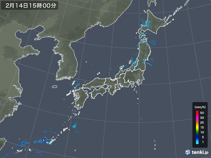 雨雲レーダー(2019年02月14日)