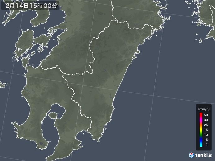 宮崎県の雨雲レーダー(2019年02月14日)