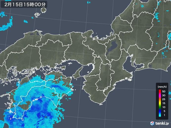 近畿地方の雨雲レーダー(2019年02月15日)