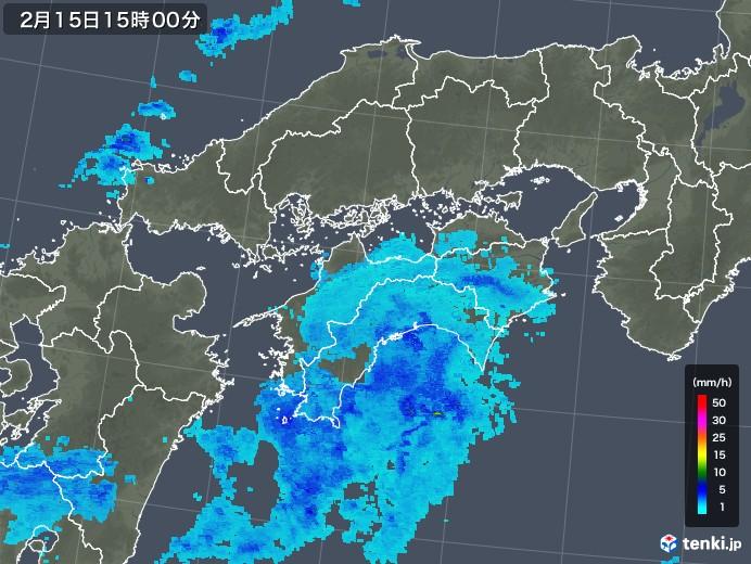 四国地方の雨雲レーダー(2019年02月15日)