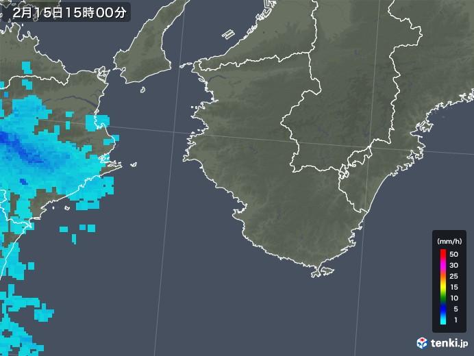 和歌山県の雨雲レーダー(2019年02月15日)