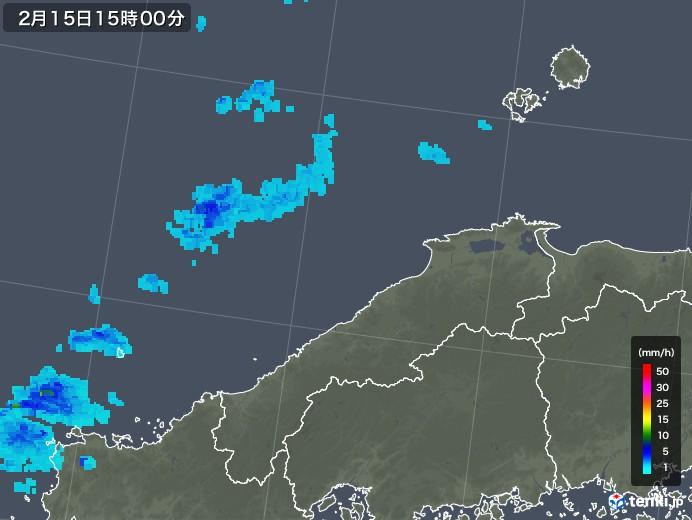 島根県の雨雲レーダー(2019年02月15日)