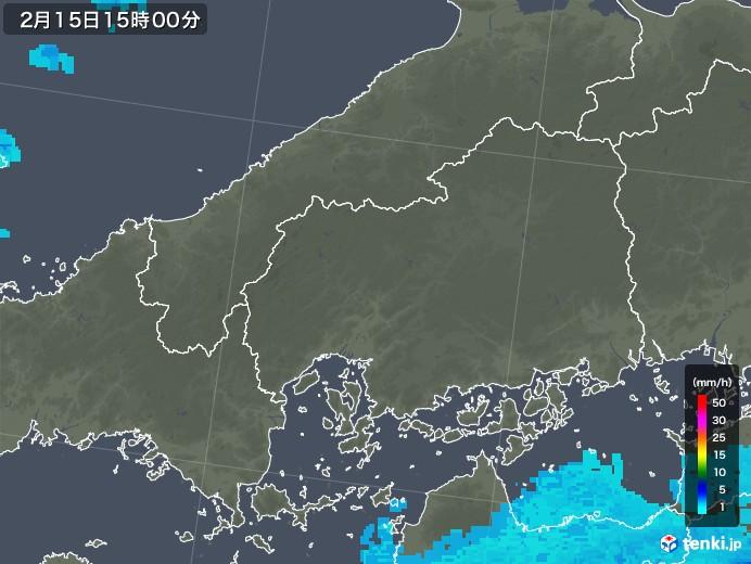 広島県の雨雲レーダー(2019年02月15日)