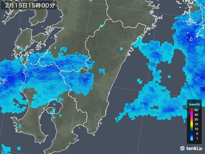 宮崎県の雨雲レーダー(2019年02月15日)