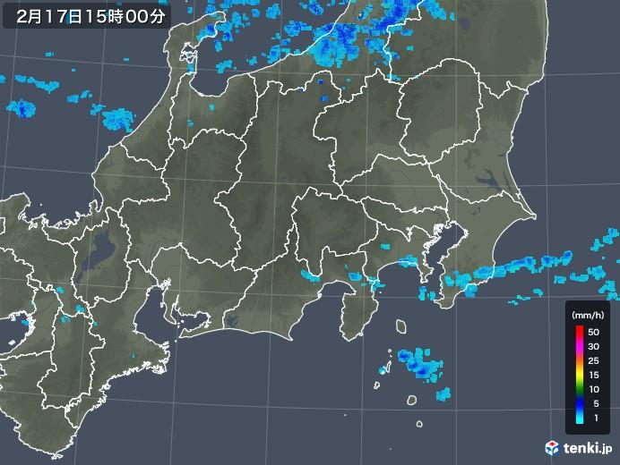 関東・甲信地方の雨雲レーダー(2019年02月17日)