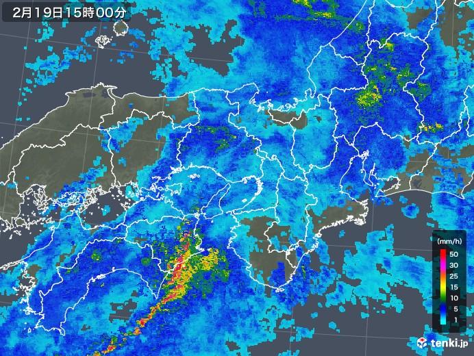 近畿地方の雨雲レーダー(2019年02月19日)
