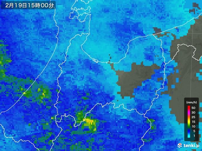 富山県の雨雲レーダー(2019年02月19日)