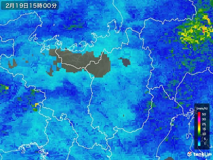 滋賀県の雨雲レーダー(2019年02月19日)