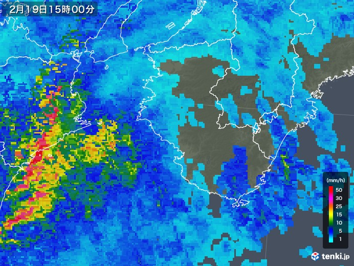 和歌山県の雨雲レーダー(2019年02月19日)