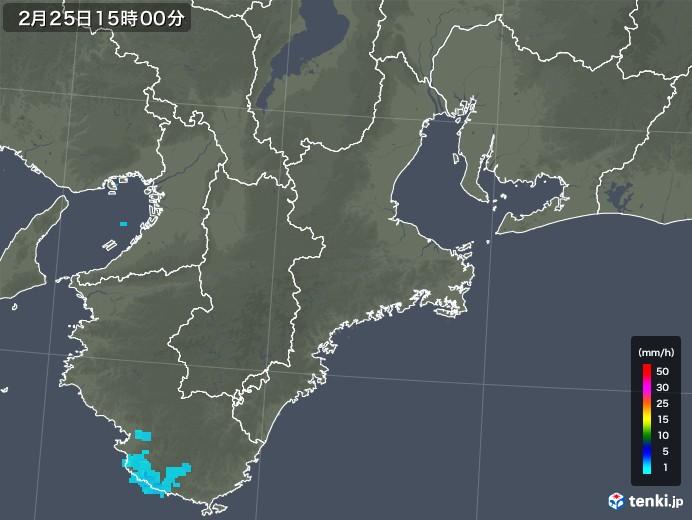 三重県の雨雲レーダー(2019年02月25日)