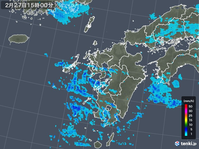九州地方の雨雲レーダー(2019年02月27日)