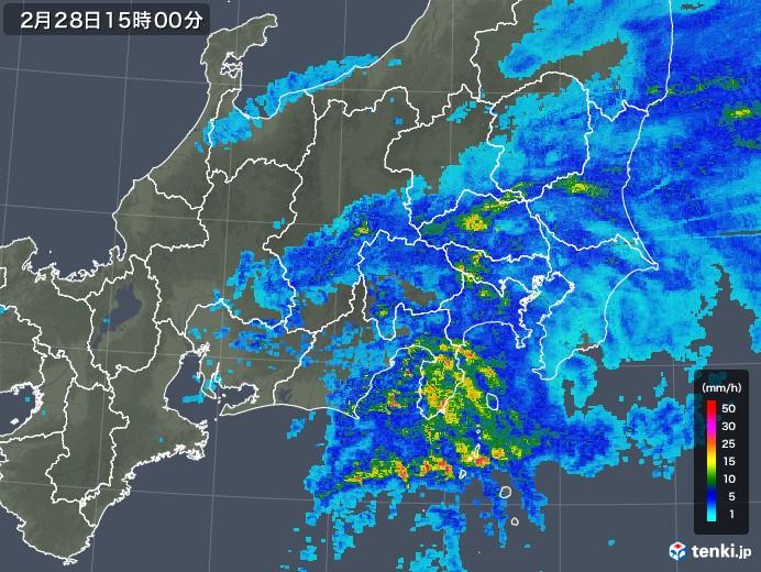 関東・甲信地方の雨雲レーダー(2019年02月28日)