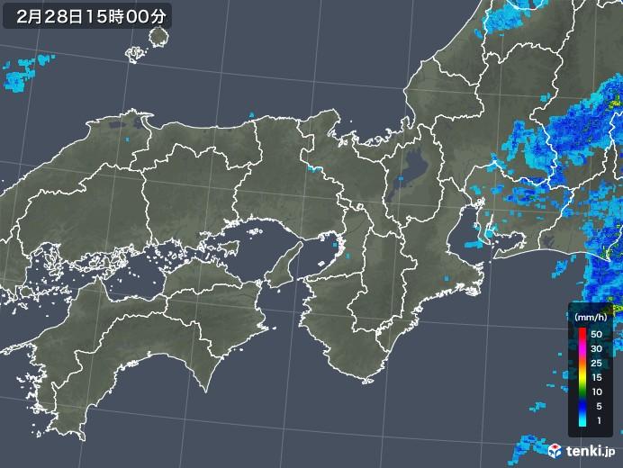 近畿地方の雨雲レーダー(2019年02月28日)