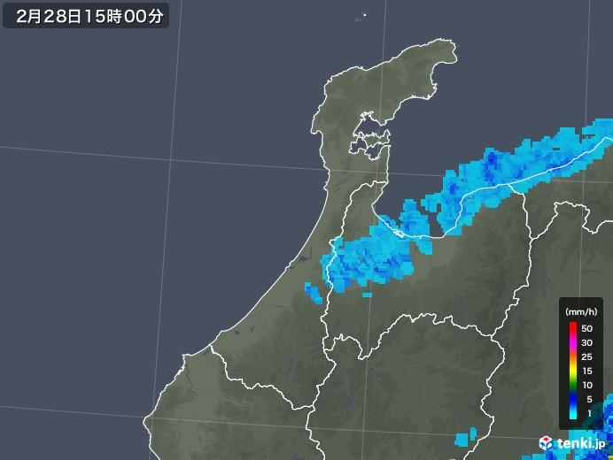 石川県の雨雲レーダー(2019年02月28日)