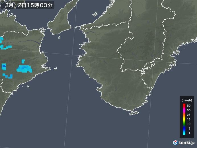 和歌山県の雨雲レーダー(2019年03月02日)